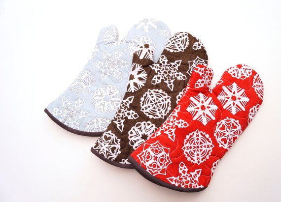 Snowflake Fabric Oven Mitt in Red, Charcoal Gray or Blue, with Hanging Tab Option