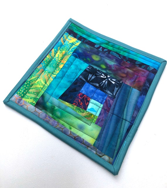 Quilted Batik Fabric Pot Holders with Colorful Hand Dyed Patchwork