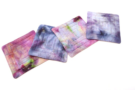 Quilted Coasters with Hand Dyed Fabrics in Shades of Pink Purple and Blue, Set of Four