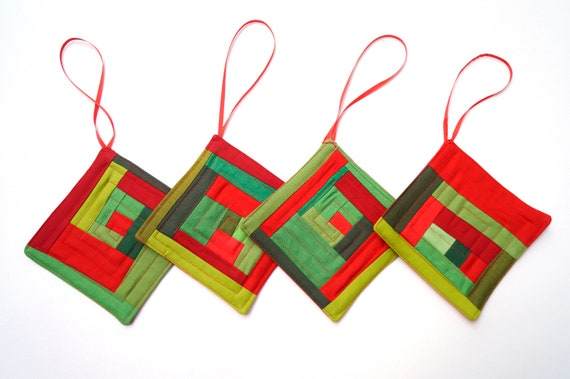 Christmas Ornaments in Red and Green Modern Patchwork Set of Four