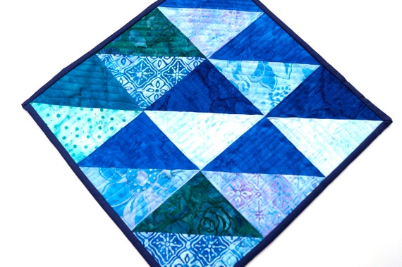 Batik Quilted Fabric Patchwork Mug Rug, Small Place Mat or Mini Quilt in Vibrant Shades of Blue
