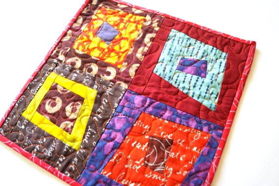 Modern Mini Quilt with Colorful Abstract Patchwork, Vibrant Fabric Table Topper