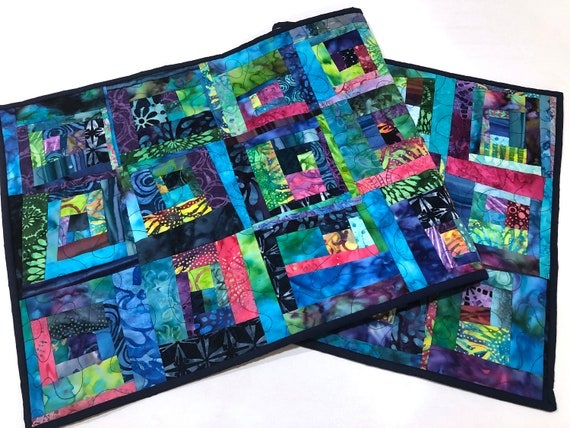 Quilted Patchwork Table Runner in Vibrant Batik Fabrics, Colorful Modern Batik Wall Hanging