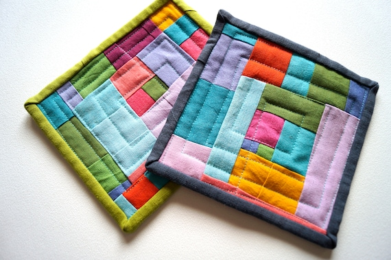 Modern Patchwork Mini Quilts, Set of Two, with Colorful Yarn Dyed Fabrics