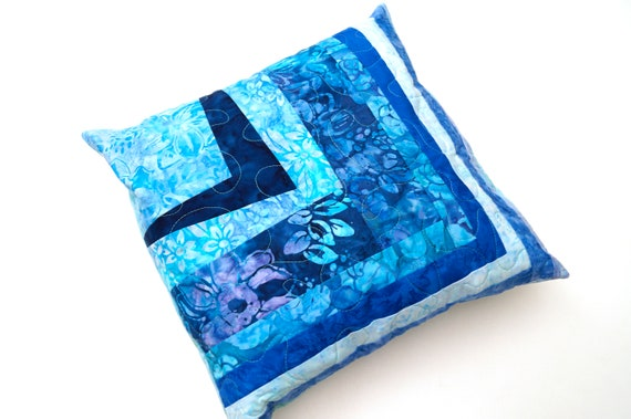 Batik Fabric Quilted Throw Pillow Cover in Blue Shades Patchwork for 14 Inch Pillow, COVER ONLY