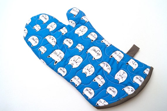 Quilted Oven Mitt in Blue with Black and White Cats, Kitty Cloth Pot Holder