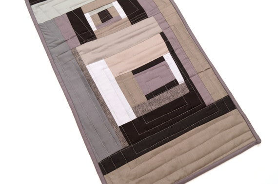 Abstract Mini Quilt with Modern Black and Grey Patchwork, Place Mat, Table Topper or Wall Hanging