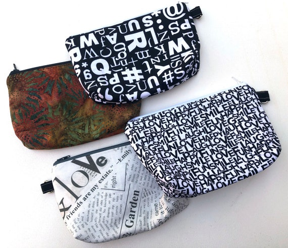 Padded Fabric Zipper Pouch with Pattern Options in Black and White or Sunflower