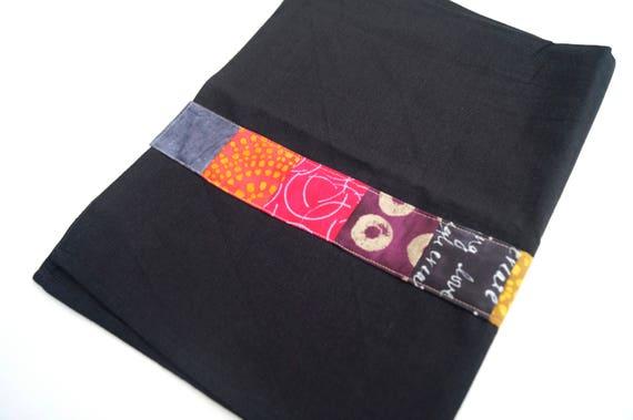 Black Tea Towel with Colorful Patchwork Strip, Modern Kitchen Linen