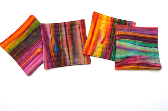 Quilted Fabric Coasters in Colorful Batik Fabric, Tropical Cloth Drink Ware, Set of Four