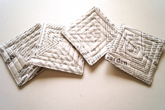 Quilted Fabric Coasters with Newsprint Pattern, Modern Cloth Drink Ware, Set of Four