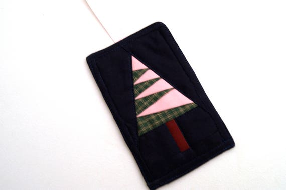 Christmas Tree Ornament in Pink, Green and Blue Fabric Quilted Patchwork