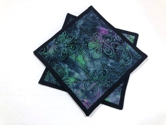 Batik Quilted Fabric Pot Holders in Blue Green and Purple Floral Print, Choice of One or Set of Two with Hanging Tab Option