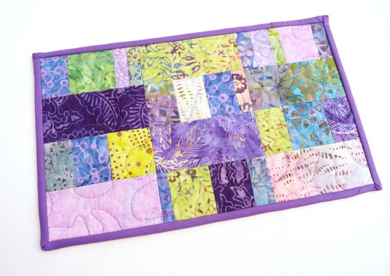 Quilted Patchwork Table Topper or Mug Rug with Colorful Batik Fabrics