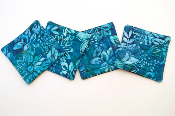 Blue Quilted Coasters in Batik Fabrics, Tropical Cloth Drink Ware, Set of Four