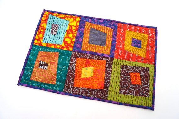 Quilted Patchwork Place Mat, Wall Hanging or Table Topper in Bright and Colorful Modern Fabric