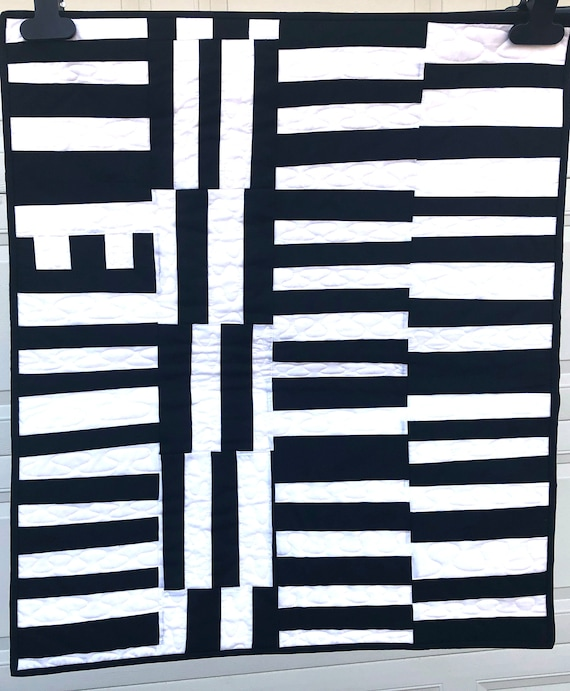 Black and White Modern Art Quilt, Quilted Wall Hanging or Table Covering