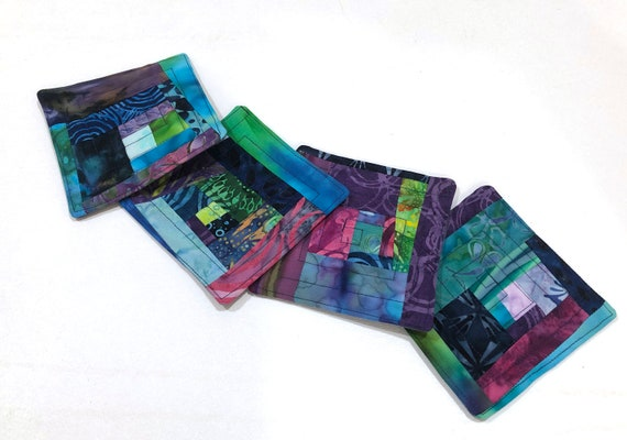Quilted Batik Fabric Coasters in Shades of Blue Purple and Green, Modern Cloth Patchwork Drink Ware, Set of Four