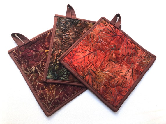 Quilted Pot Holders in Rich Fall Color Hand Dyed Batik Fabric