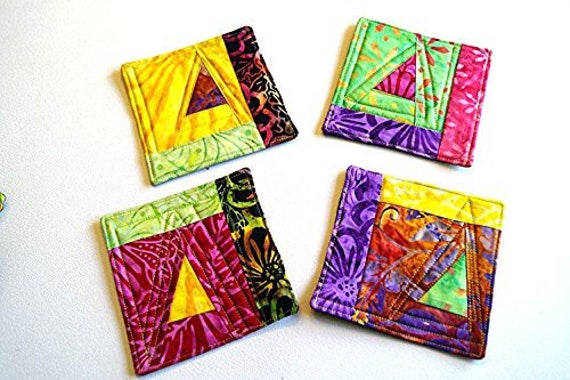 Quilted Coasters Set of Four in Colorful Abstract Triangle, Modern Quilted Drinkware