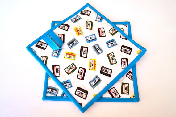 Quilted Fabric Pot Holders with Cassette Tape Pattern with Rock Theme, Choice of One or Set of Two with Hanging Tab Option