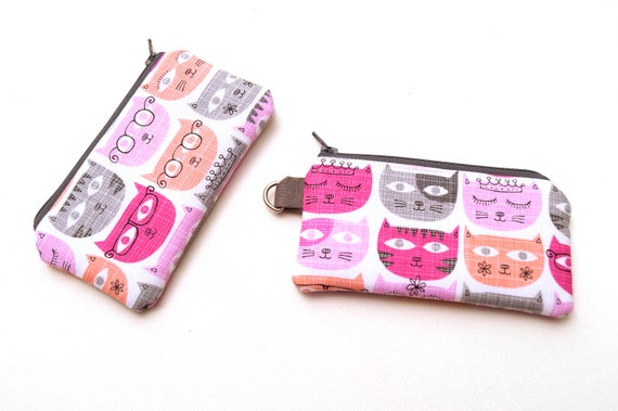 Mini Zipper Pouch with Pink and Grey Cats, Cute Lanyard Accessory with D Ring Option