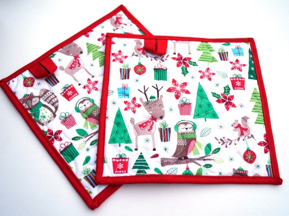 Christmas Fabric Quilted Pot Holders With Cute Woodland Animals, Choice of One or Two with Hanging Tab Option