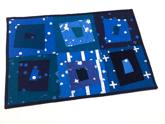 Quilted Fabric Place Mat or Wall Hanging in Modern Blue Patchwork