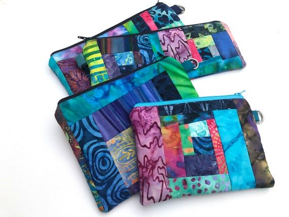 Batik Fabric Padded Zipper Pouch with Colorful Patchwork