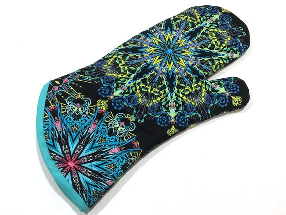 Quilted Fabric Oven Mitt with Colorful Medallions, with Hanging Tab Option