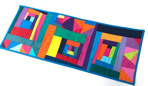 Quilted Fabric Table Runner with Abstract Improvisational Patchwork