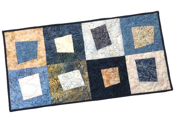Hand Dyed Quilted Batik Fabric Table Runner or Wall Hanging with Blue Patchwork