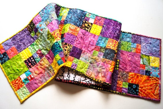 Quilted Table Runner with Vibrant and Colorful Batik Fabric Patchwork