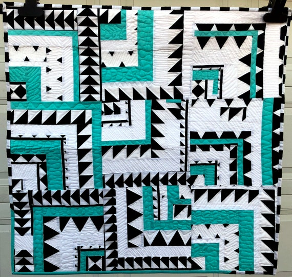 Quilted Wall Hanging or Table Topper in Black, White and Aqua Blue Improv Abstract Pattern