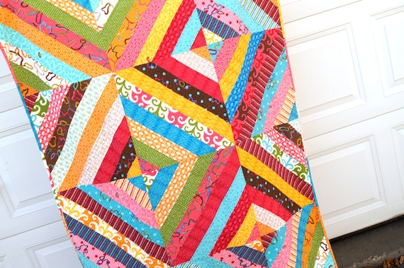 Lap Quilt or Small Throw Blanket in Modern Colorful Stripes in Pinks, Blues, Orange, Brown and Green