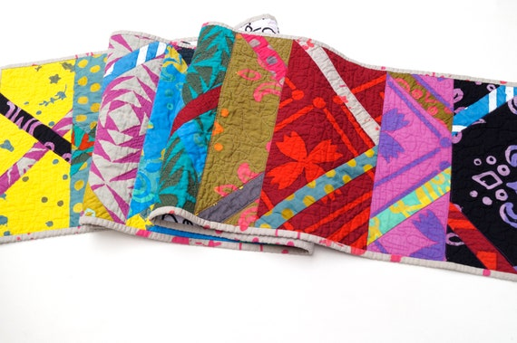 Quilted Table Runner with Colorful, Modern Batik Fabric Patchwork !Price Reduced Storm Sale!
