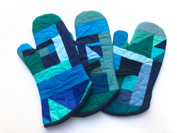 Quilted Fabric Oven Mitts with Abstract Patchwork in Shades of Blue and Green