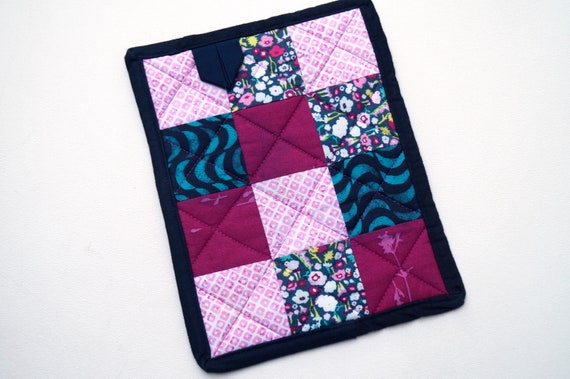 Fabric Pot Holder in Shades of Pink and Blue Florals and Prints, Quilted Patchwork Hot Pad