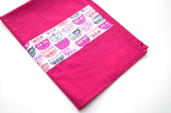 Pink Cat Tea Towel with Cute Fabric Accent Strip, Modern Kitchen Linen