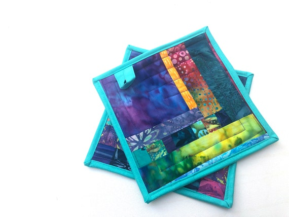Quilted Pot Holders in Colorful Batik Fabrics, Vibrant Tropical Hot Pads, Set of Two