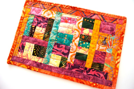 Patchwork Mini Quilt in Tropical Batik Fabrics, Colorful Quilted Mug Rug, Candle Mat, Small Place Mat