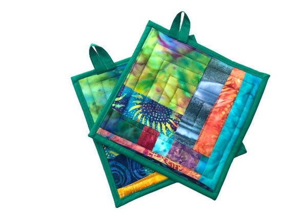 Colorful Batik Fabric Pot Holders, Vibrant Quilted Patchwork Hot Pads, Set of Two