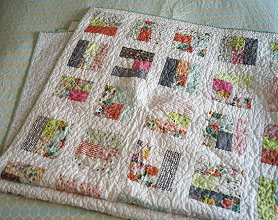 Lap Blanket or Patchwork Throw Quilt in Colorful Geometric Pattern