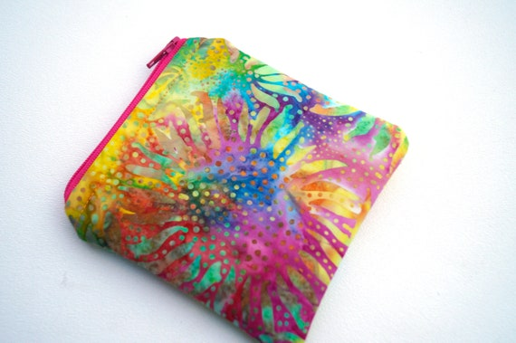 Colorful Zipper Pouch with Batik Fabric, Rainbow Sunflower Pattern Coin Purse