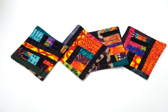 Quilted Coasters in Colorful Fabric Patchwork, Vibrant Modern Cloth Drink Ware, Set of Four