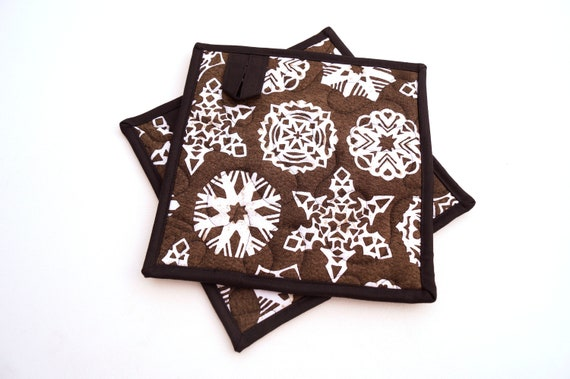 Snowflake Print Quilted Fabric Pot Holders in Charcoal Grey, Choice of One or Two with Hanging Tab Option