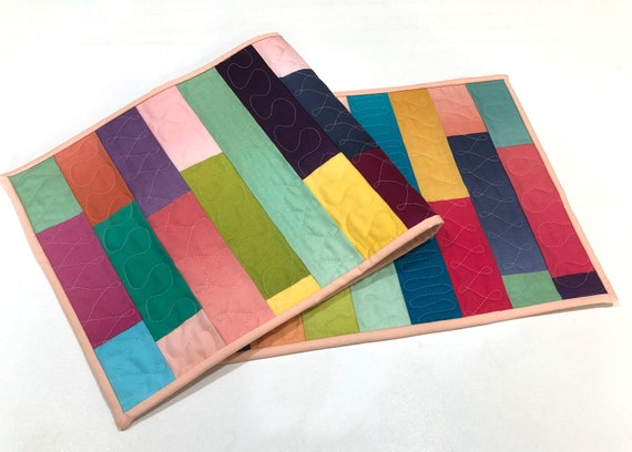 Modern Quilted Table Runner with Colorful Ombre Fabric Patchwork