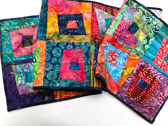 Quilted Batik Fabric Table Runner with Colorful and Vibrant Modern Patchwork