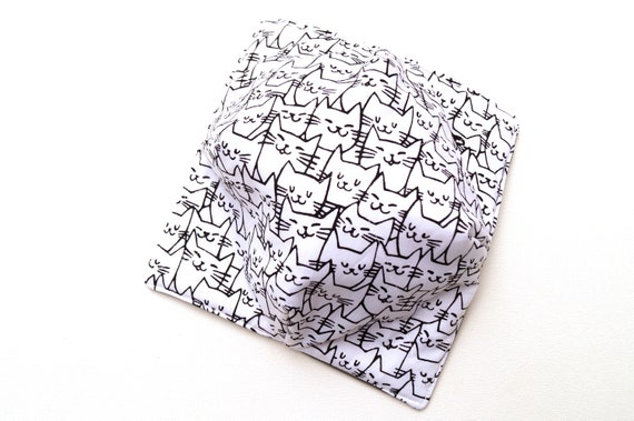 Black and White Cat Fabric Microwave Bowl Cozy, Soup or Ice Cream Bowl Holders