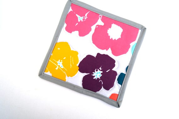 Mod Floral Pot Holder, Colorful Flower Quilted Fabric Hot Pad